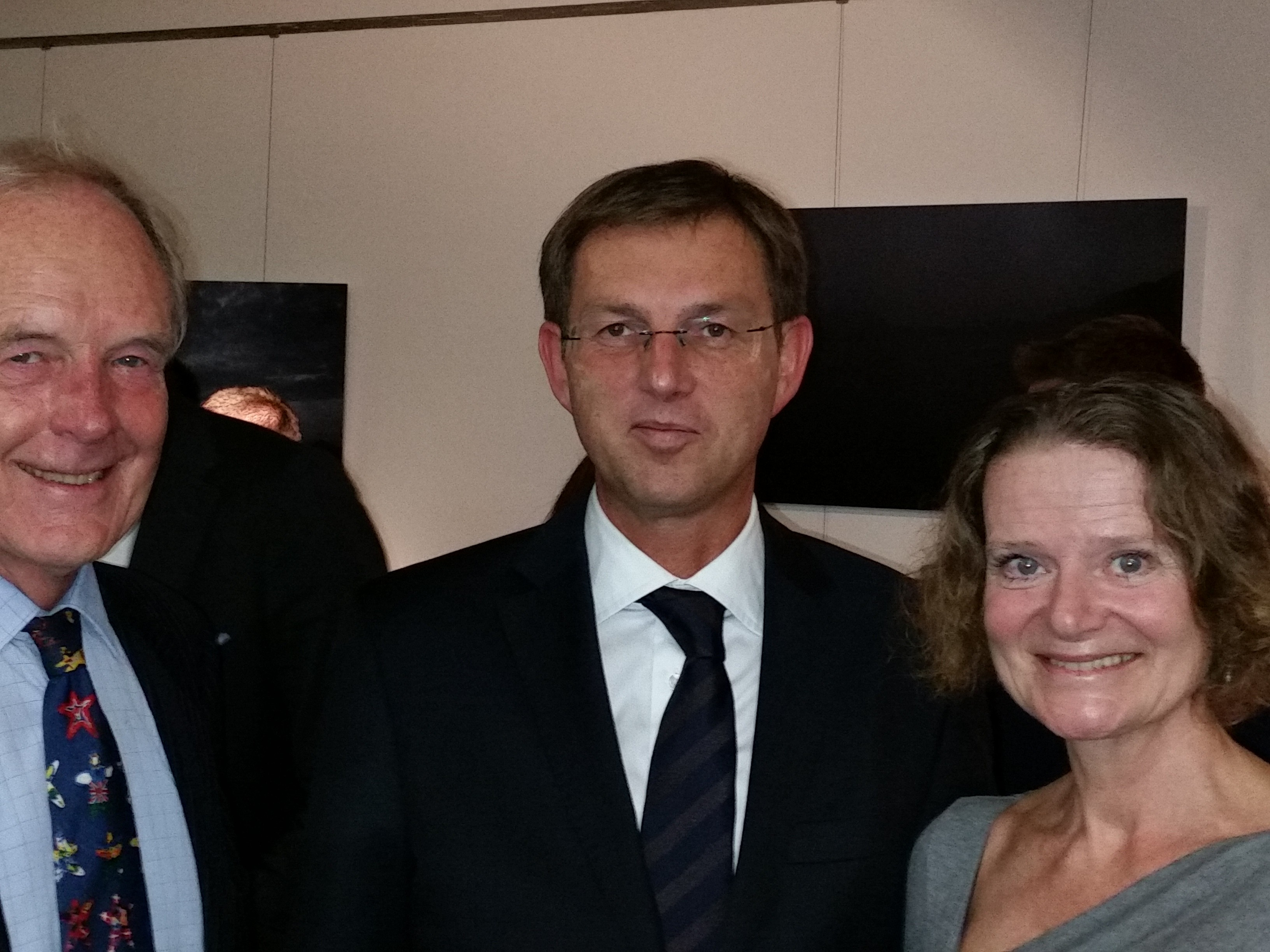 Dr Cerar with  David Lloyd, Chairman of the British-Slovene Society and Evelina Ferrar, Trustee